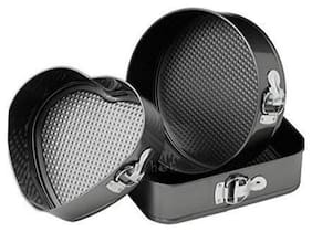 Way Beyond Aluminium Cake Mould Set, 3-Pieces, Black Heart, Square and Round Shape Bakeware Tin