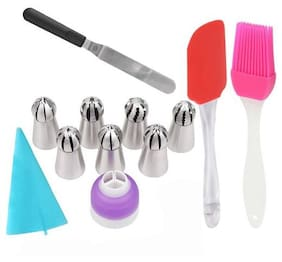 Way Beyond Bakeware Icing Combo Set 7 Russian Nozzle;Icing Bag With 1 Smoothing Steel Spatula;1 Oiling Brush & 1 Icing Smoothing Spatula Kitchen Tool Set