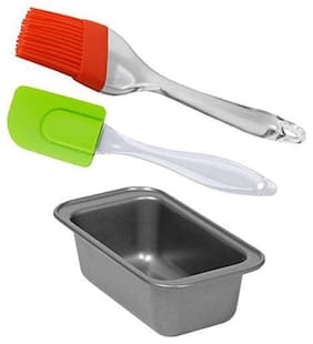 WAY BEYOND Cake Combo 1 Cake/Bread loaf or Mould with Reusable Silicon Spatula and oiling Brush Kitchen Tool Set