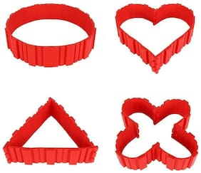 WAY BEYOND DIY Baking Cake Mould Strips Red - Design Your Pastry Dessert with Any Pan Shape, Non Stick Flexible Reusable 4 Piece Set