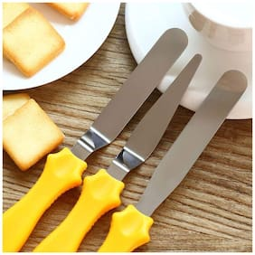 WAY BEYOND Multi-function Stainless Steel Cake Icing Spatula Knife Set of 3 (Assorted Color)