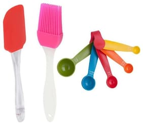Way Beyond Plastic Colourful Measuring Spoon Set Of 5;With 1 Silicon Spatula;And 1 Silicon Oiling Brush Kitchen Tool Set