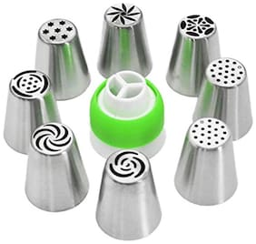 Way Beyond Stainless Steel 8 Icing Nozzles with 1 Coupler for Decorating Cupcake Pastries Desserts Tarts Pie - Set of 9