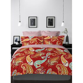WELHOME Snapshot Maroon 1 Double Bed Sheet with 2 Pillow Covers