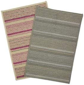 WELHOME La-Piazza Multicolor Door Mat Set of 2  Size 1.25 ft x 1.87 ft