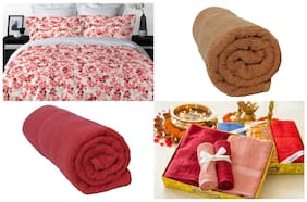 WELHOME La-Piazza Red 3 Pcs Gift Set Contains 1 Double Bedsheet and 2 Bath Towels