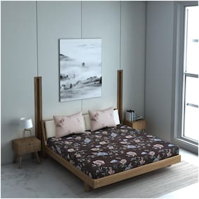 Welhome La Piaza Brown Colour 1 Double Bed Sheet With 2 Pillow Covers