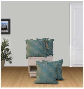 WELHOME Snapshot Turquoise Blue Cushion Covers Set of 5
