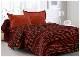 Welhouse India Cotton Striped Double Size Bedsheet 180 TC ( 1 Bedsheet With 2 Pillow Covers , Brown )