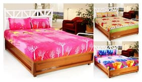 Welhouse COMBO SET of 3D Printed 3 Double bedsheet with 6 Pillow Covers DB_3SET_3_5_17