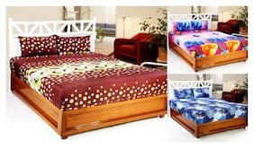 Welhouse COMBO SET of 3D Printed 3 Double bedsheet with 6 Pillow Covers DB_3SET_1_17_25