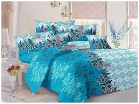 Welhouse India Cotton Floral Double Size Bedsheet 180 TC ( 1 Bedsheet With 2 Pillow Covers , Blue )