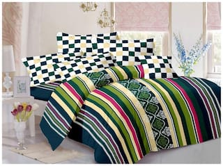 Welhouse India Cotton Striped Double Size Bedsheet 180 TC ( 1 Bedsheet With 2 Pillow Covers , Multi )