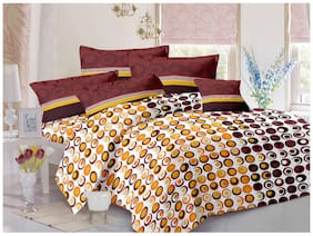 Welhouse India Cotton Polka Dot Double Size Bedsheet 180 TC ( 1 Bedsheet With 2 Pillow Covers , Brown )