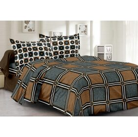 Welhouse Cotton Checkered Grey  Double Bedsheet with 2 Contrast Pillow Covers(TC-129)