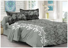 Welhouse India Cotton Abstract Double Size Bedsheet 180 TC ( 1 Bedsheet With 2 Pillow Covers , Grey )