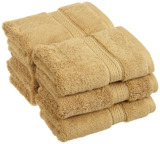 Welhouse India 200 GSM Cotton Face towel ( 6 pieces , Brown )