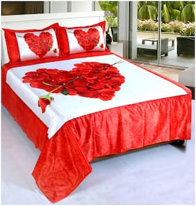 Welhouse India Cotton Printed Double Size Bedsheet 140 TC ( 1 Bedsheet With 2 Pillow Covers , Red )