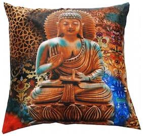 Welhouse India Saint Budha Design 3D Cushion Covers - Pack of 1
