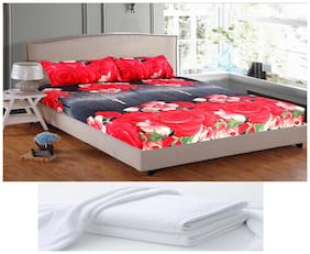 Welhouse India Microfiber Floral Double Size Bedsheet 104 TC ( 1 Bedsheet With 2 Pillow Covers , Multi )
