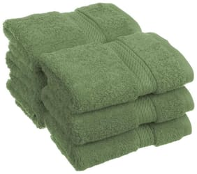 Welhouse India 200 GSM Cotton Face towel ( 6 pieces , Green )