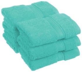 Welhouse India 200 GSM Cotton Face towel ( 6 pieces , Blue )