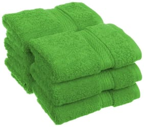 Welhouse India 200 GSM Cotton Face Towel ( Pack of 6 , Green )