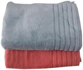 Welhouse India 250 GSM Cotton Bath towel ( 2 pieces , Grey & Red )