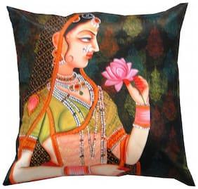 Welhouse India A Lady Portrait 3D Digital Cushion Cover - Pack of 1