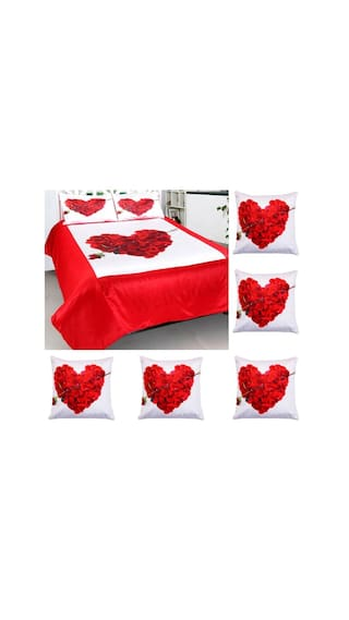 a709ca84e0d031 Welhouse india Valentine Combo offer 1 Double bedsheet + 2 Pillow Covers    Cushion Cover SET