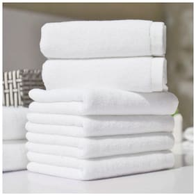 Welhouse India 200 GSM Cotton Hand towel ( 6 pieces , White )