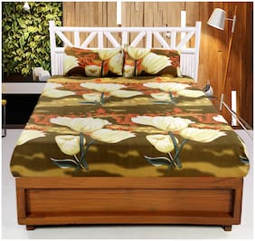 Welhouse India 3D Printed 1 Double bedsheet with 2 Pillow Covers