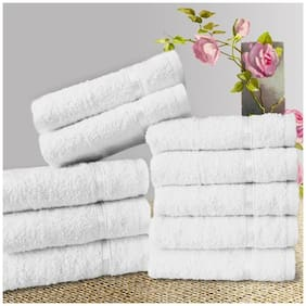 Welhouse India 200 GSM Cotton Face Towel ( 10 Pieces , White )