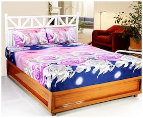 Welhouse India Microfiber Floral Double Size Bedsheet 140 TC ( 1 Bedsheet With 2 Pillow Covers , Multi )