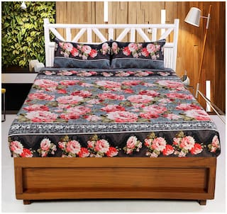 Welhouse India Microfibre Floral Double Bedsheet ( 1 Bedsheet With 2 Pillow Covers , Multi )