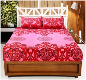 Welhouse India 140 TC Floral Flat Double Bedsheet ( Pink , Pack of 3 )