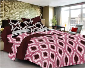 Welhouse India Cotton Printed Double Size Bedsheet 120 TC ( 1 Bedsheet With 2 Pillow Covers , Multi )