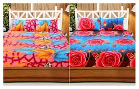 Welhouse India 3D Printed Set Of 2 Double bedsheet with 4 Pillow Covers