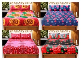 Welhouse India 3D Printed Set Of 4 Double bedsheet with 8 Pillow Covers