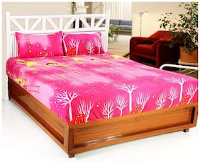 Welhouse India Microfiber Abstract Double Size Bedsheet 140 TC ( 1 Bedsheet With 2 Pillow Covers , Multi )