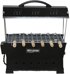 Wellberg Electric and Charcoal Barbeque Grill with 6 Skewers (Black)