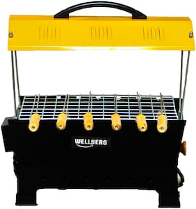 Wellberg Electric and Non Electric Barbeque Grill, with Skewers Yellow (1 year warrenty)