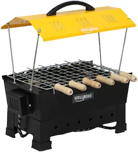 Wellberg Electic and Non Electric Charcoal Barbeque (Black, Iron) Multipurpose Big Wellberg Electic and Non Electric Charcoal Barbeque (yellow, Iron) Multipurpose Big