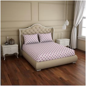 Welspun Cotton Floral Double Size Bedsheet 150 TC ( 1 Bedsheet With 2 Pillow Covers , Purple & White )