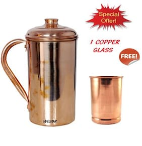WESBR 100% PURE COPPER JUG WITH 1 COPPER GLASS FREE