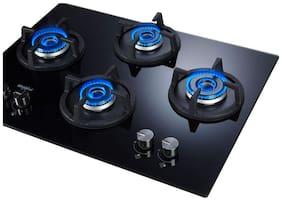 Whirlpool ELITE HD 704 BRASS 4 Burner Automatic Hobs Black Gas Stove
