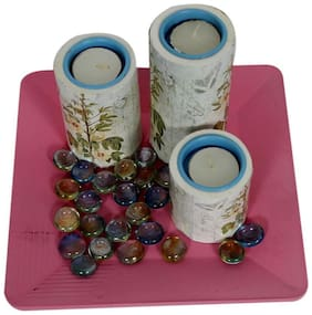 White and Blue Tea Light Candle Holders : Set of 3 : On a Pink Tray