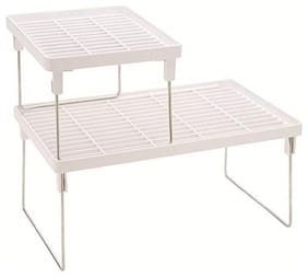 White Colour j 249/Set of 2 pcs Folding Rack Combo(Big & Small)