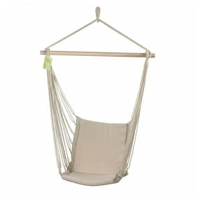 White COTTON PADDED HANGING SWING CHAIR Hammock Outdoor Garden Patio Porch