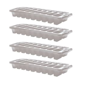 White Plastic Ice Trays - Set Of 4